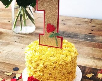 Beauty and The Beast Smash Cake Topper! First Birthday Party Cake Topper- Beauty and The Beast Themed Party- Rose Cake Topper