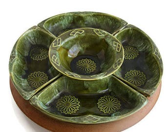 Vintage Wade of California 5-PC Lazy Susan Green Serving Set with Wooden Turning Piece