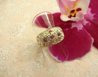 Vintage Silver and Ruby Ring, Sterling Silver and Ruby Ring, Filigree Silver Ruby Ring