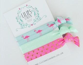 Flamingo hair ties, pink hair bands, mint yoga bands, elastic bracelets, polkadot hairties, knotted hair ties, flamingo hair accessories