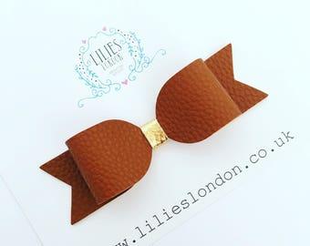 Brown hair bow, leatherette hair bow, faux leather clip, adult hair bow, teen hair clip, fashion accessory, tan hair slide, large hairbow