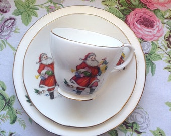 Vintage Christmas Three Piece Teacup Set/ Santa Clause Design/Duchess - Made in England/Fine Bone China