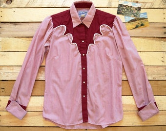 Vintage Women's Large 70s ROCKMOUNT Ranch Wear Western Pearl Snap Blouse Red White Candy Stripe Cowgirl Shirt French Cuffs