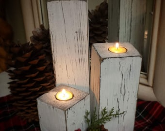 """Wood candleholder trio.  Tea light holder, rustic distressed look.  Farmhouse style.  Includes 12""""/8""""/4"""". Wedding gift, home decor. White"""
