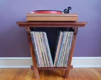"""Beautiful Solid Walnut Record Player Table and LP Holder for 12"""" Vinyl LPs - Holds 70 x 12"""" Vinyls - Very Nice Record Storage"""