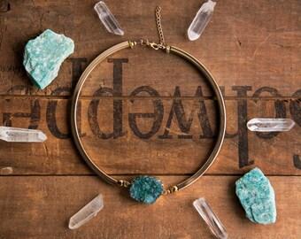 JADED CHOKER NECKLACE - Druzy Gemstone Jewelry, Crystal Necklace, Boho Chic, Gypsy, Druzie, Gifts for Her, Statement Necklace, Bold Choker