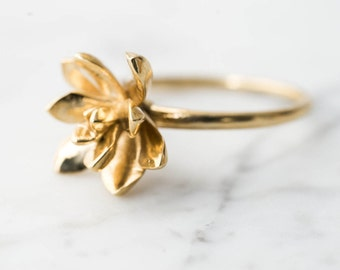 Succulent Stacking Ring No. 3- Miniature Plant- Inspired Jewelry in Precious and Semi-Precious Metals