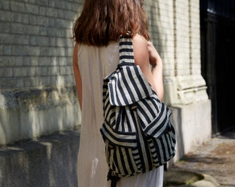 Black and White Stripe Cotton Duffle Drawstring Beach Bag/ Ruck Sack  Approx. 17'' by 15'