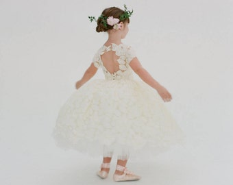 Ivory Lace Flower Girl Dress - The Annabelle (More Colors and Customizations Available)