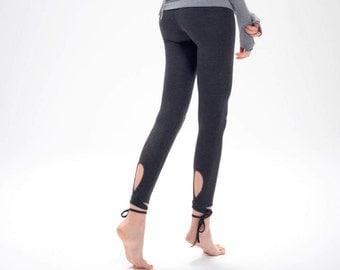 Charcoal Yoga Leggings / Arya Yoga Clothing / Comfy Yoga Leggings with Low Waist / Charcoal Melange Low-Rise Tights by AryaSense/ LDVR16CH