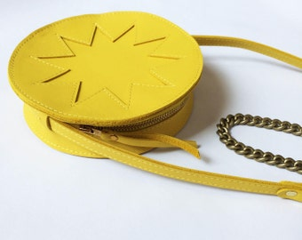 La Lisette // Yellow circle bag, yellow Leather bag, round bag, zig zag, shoulder bag, festival bag