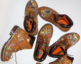 Custom painted Timberland Boots Colour Splash Art Style Funky *UNIKAT*