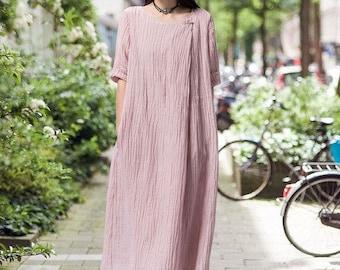 Loose Fitting Long Maxi Dress -  Short Sleeved Women Linen Dress for Women- women clothing