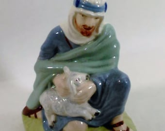 """Shepard With Lamb/Glazed Ceramic/Figurine/Holland Mold/On Bottem: """"The Lynotts""""/No Scratches or Chips"""