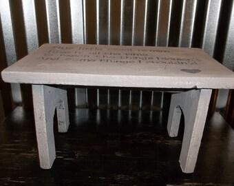 Stepstool Shabby Chic Wood Footstool Gray Rustic White Wash Stool Farmhouse Milk Stool Cottage Chic Decor Stool Poem