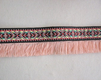 2 Yards Bohemian Fringe Trim, Fringe Ribbon, Fringe Tape,  Aztec Trim in Onion Pink  Color