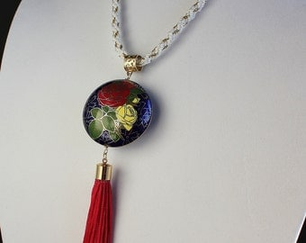 Floral Cloissonne Pendant Necklace on Kumihimo Braid Necklace