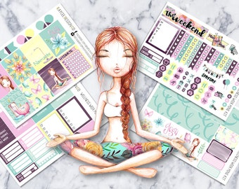 MINI Weekly Kit / Wellness Week / Planner Stickers /  Fits Erin Condren Vertical & MAMBI / Glitter / Hand Drawn