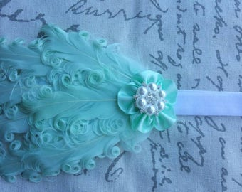 Mint Feather Headband Rhinestone & Pearl Flower Wedding/Pageant/Photo Prop