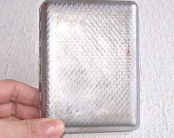 Vintage Cigarette Case. Nickel Plated Cigarette Box. Soviet Cigarette Holder. Retro Business/Credit Card Holder. Metal Wallet.