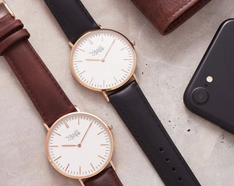 engraved mens watch rose gold personalised classic watch for men men s watch personalised your own message personalised gift for him engraved gift for dad