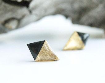 Black ear studs Minimal ear studs Geometric ear studs Dainty earrings Rhombus earrings studs Minimal earrings Dainty ear studs Minimal studs