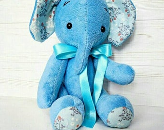 Handmade Elephant blue stuffed animals, baby gift