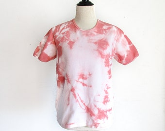 Altered Eco Dyed Shirt - Hand Dyed - Sandalwood Plant Dye - Size L - Rosy - Pinkish - Hand Dyed Shirt - Eco Dyed Top - Earthy