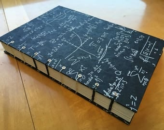 Math Nerd Sketchbook // Mathematical Equations // Black, White, Silver // Handmade Journal // Hardcover Notebook // Coptic Stitch // Geek