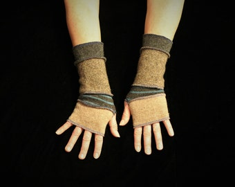Arm Warmers, Wrist Warmers, Katwise, Wool Gloves, Bohemian, Upcycled, Fingerless Gloves, Boho Glove, Hippie Clothes, Hobo Glove