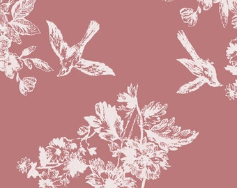 KNIT Fabric Bolt Bluebird Garden Cotton Lycra Knit Fabric. Sold by the 1/2 Yard