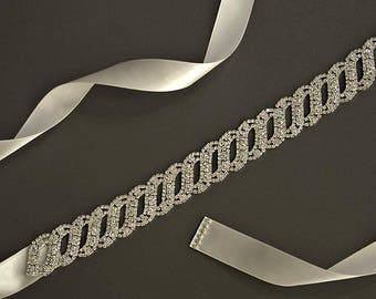 Rhinestone Wedding Sash, Headband, Silver Wedding Belt, Rhinestone Satin dress Sash,Wedding Accessories,Flower Girl -BT 010