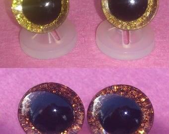 3D Orange 16mm Safety Teddy Eyes with PLASTIC BACKS - Glitter Sparkle Animal Eyes for Teddy Bear Making