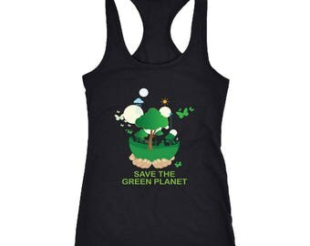 Green planet Racerback Tank Top T-Shirt. Funny Green planet Tank.