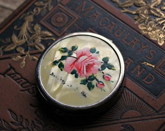 Small Powder Compact-Mother of Pearl Flowers