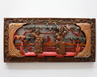 Vintage Carved wood panel Art of Two Chinese Peking opera characters Wood sculpture of Chinese Antique small wood carving Folk Art