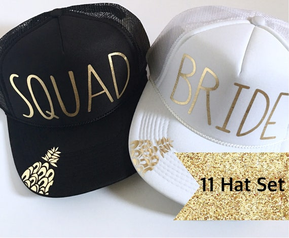 11 Bride Squad Hat SET| Bride Hats| Bachelorette Hats| 1 White Bride, 10 Black Squad Hats-with Gold Vinyl lettering