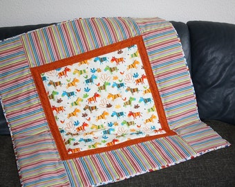Playmat colorful horses patchwork blanket quilt baby blanket