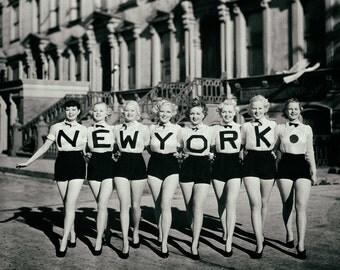 New York NY vintage photo chorus line dancers beauty queens women ladies legs antique photograph 1930s-PRINT, poster