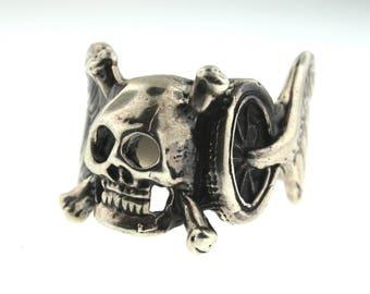 Vintage 925 Sterling Silver Biker Skull with Angel Wings & Wheel