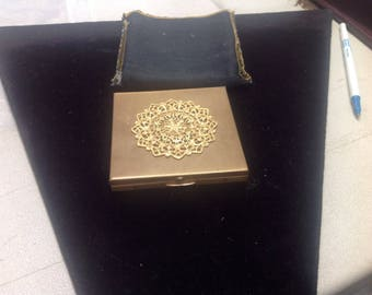 Vintage gold filled makeup compact with mirror and puff pad