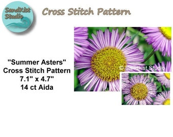 Summer Asters, Original Cross Stitch Pattern, Instant Download