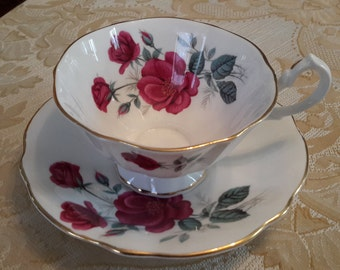 Vintage Queen Anne Red Rose Tea Cup and Saucer, bone china, made in england, red rose, gold trim, marked, collectible, shabby chic, cottage