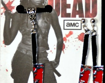 TWD Michonne, Daryl Dixon, Rick Grimes Large Bloody Knives  Bloody Machete  The Walking Dead Necklace and Earrings Jewelry Set