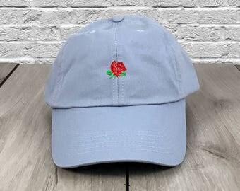 Rose Dad Hat Baby Blue Flexfit Yupoong Vintage Strapback Hat Cap Supreme Anti Social Social Club Saint Pablo Yeezy Lil Uzi Vert