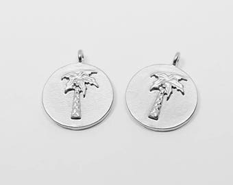 P0608/Anti-Tarnished Matte Rhodium Plating Over Brass/Embossed Carving Circle Palm Tree  Pendant/12mm/2pcs
