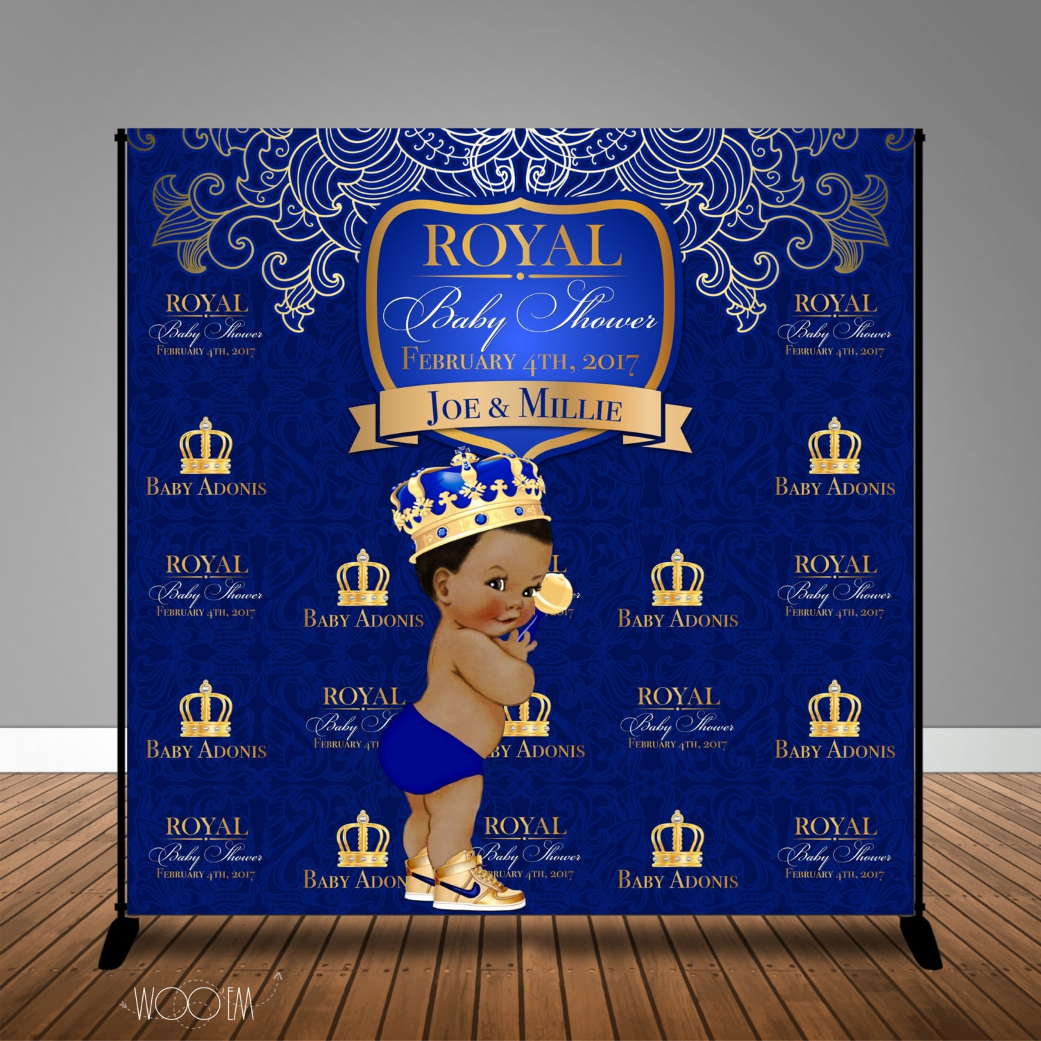 Royal Baby Shower Blue 8x8 Backdrop / Step & Repeat Design