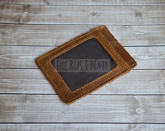 FREE SHIPPING - Distressed Genuine Leather Credit Card Case with ID Holder - Slim Credit Card Holder - Personalized Wallet - Brown