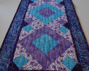 Purple and Turquoise Spring Table Runner