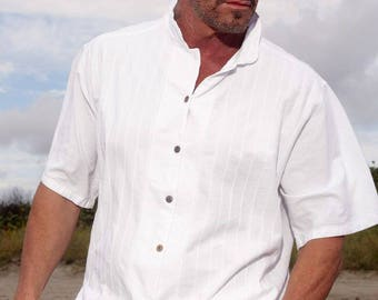 ROMEO Organic Cotton Mandarin Collar Short Sleeves Casual   Shirt